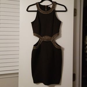 Glamorous Gold Beaded Black Dress w/ Side Cut Outs
